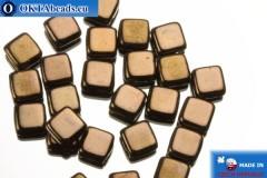 TILE Czech 2-hole beads bronze (LZ23980) 6mm25pc