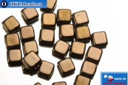 TILE Czech 2-hole beads bronze (LZ23980) 6mm25pc TL32