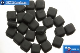 TILE Czech 2-hole beads black matte (M23980) 6mm25pc TL16