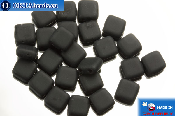TILE Czech 2-hole beads black matte (M23980) 6mm25pc