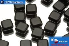 TILE Czech 2-hole beads black 6mm, 25pc