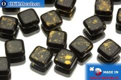 TILE Czech 2-hole beads black gold 6mm, 25pc