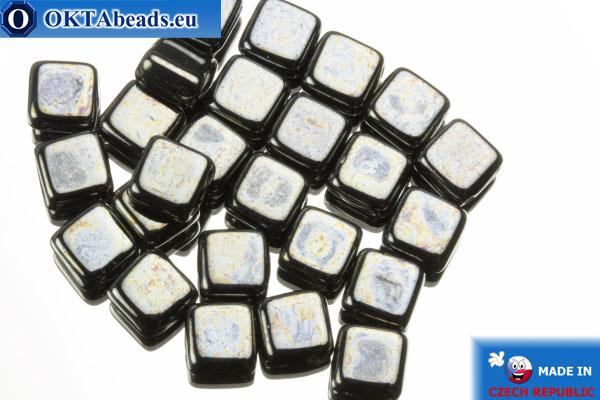 TILE Czech 2-hole beads hematite (L23980) 6mm25pc
