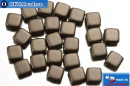 TILE Czech 2-hole beads brown pearl matte (25036AL) 6mm25pc TL17