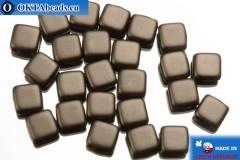 TILE Czech 2-hole beads brown pearl matte (25036AL) 6mm25pc
