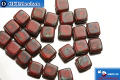 TILE Czech 2-hole beads red travertin (T93200) 6mm25pc