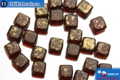 TILE Чешские бусины, 2 отверстия красные золото (GM90100) 6мм25шт