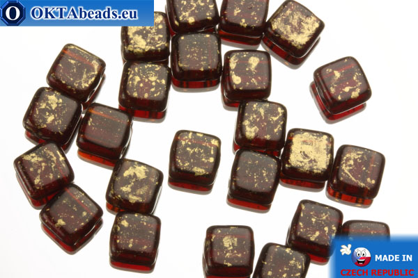TILE Czech 2-hole beads red gold (GM90100) 6mm25pc
