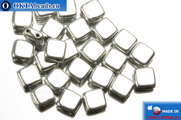 TILE Czech 2-hole beads silver (S00030) 6mm25pc