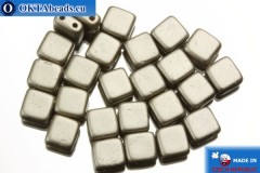 TILE Czech 2-hole beads grey pearl matte (25005AL) 6mm25pc