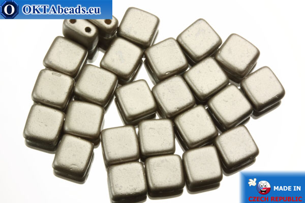 TILE Czech 2-hole beads grey pearl matte (25005AL) 6mm25pc