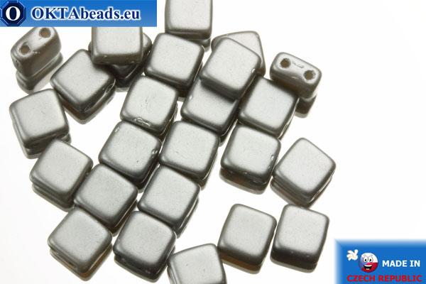TILE Czech 2-hole beads grey pearl matte (25028AL) 6mm25pc