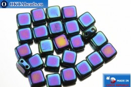 TILE Czech 2-hole beads blue iris (21435JT) 6mm25pc TL27