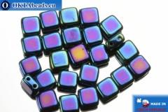 TILE Czech 2-hole beads blue iris (21435JT) 6mm25pc
