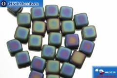 TILE Чешские бусины, 2 отверстия синие ирис матовые (21155JT) 6мм25шт