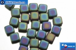TILE Czech 2-hole beads blue iris matte (21155JT) 6mm25pc TL33