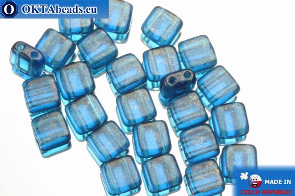 TILE Чешские бусины, 2 отверстия синие золотой глянец (GM60080) 6мм25шт TL23