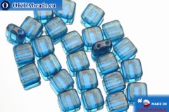 TILE Czech 2-hole beads blue gold luster (GM60080) 6mm25pc TL23