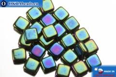 TILE Czech 2-hole beads green iris (21455JT) 6mm25pc