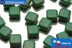 TILE Český korálky dvoudírkové zelený travertin 6mm, 25ks