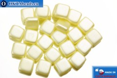 TILE Czech 2-hole beads yellow pearl (25039AL) 6mm25pc