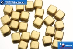 TILE Czech 2-hole beads gold matte (K0171) 6mm25pc