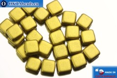 TILE Czech 2-hole beads gold matte (K0172) 6mm25pc