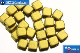TILE Czech 2-hole beads gold matte (K0172) 6mm25pc TL14