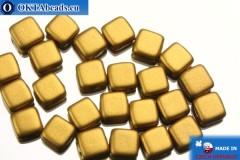 TILE Чешские бусины, 2 отверстия золото матовые (K0173) 6мм25шт