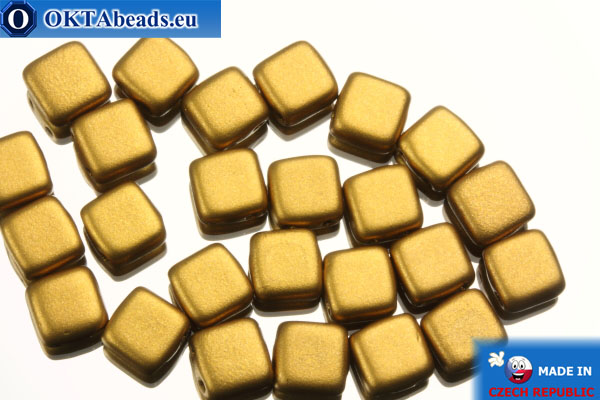 TILE Czech 2-hole beads gold matte (K0173) 6mm25pc TL24