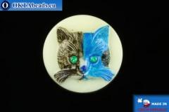 Чешская стеклянная пуговица Кошка 26,8мм, 1шт knof023