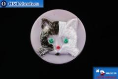 Czech glass button Cat 26,8mm, 1pc