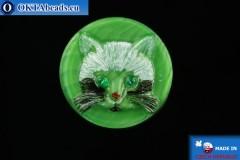 Чешская стеклянная пуговица Кошка 26,8мм, 1шт knof025