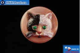 Czech glass button Cat 26,8mm, 1pc knof021