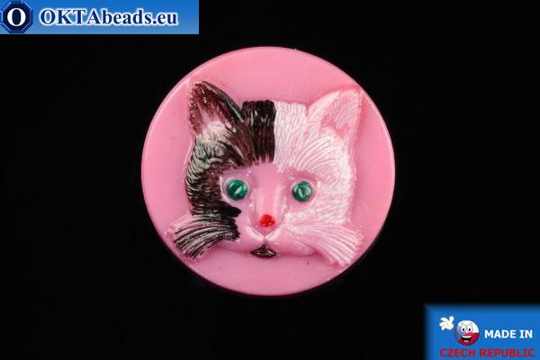 Czech glass button Cat 26,8mm, 1pc knof022