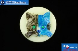 Czech glass button Cat 26,8mm, 1pc knof023