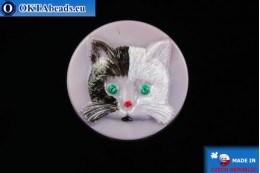 Czech glass button Cat 26,8mm, 1pc knof024