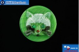 Czech glass button Cat 26,8mm, 1pc knof025