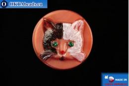 Czech glass button Cat 26,8mm, 1pc knof026