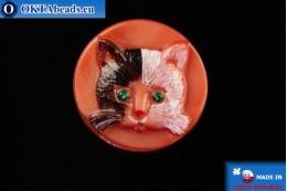 Czech glass button Cat 26,8mm, 1pc knof028