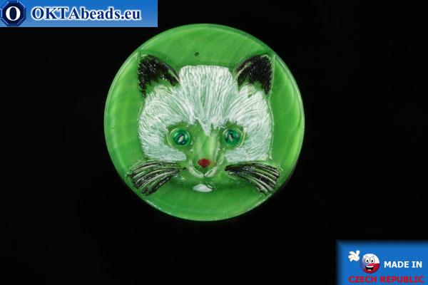 Czech glass button Cat 26,8mm, 1pc knof029
