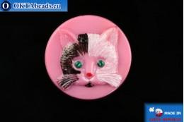 Czech glass button Cat 26,8mm, 1pc knof032