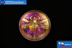 Чешская стеклянная пуговица Стрекоза 34мм, 1шт knof015