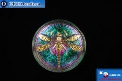 Чешская стеклянная пуговица Стрекоза 34мм, 1шт knof016