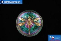 Czech glass button Dragonfly 34mm, 1pc knof016