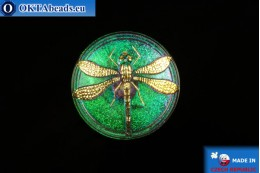 Czech glass button Dragonfly 40,5mm, 1pc knof001