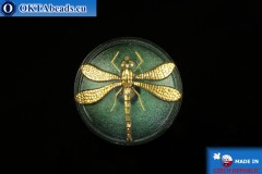 Czech glass button Dragonfly 40,5mm, 1pc