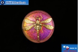 Czech glass button Dragonfly 40,5mm, 1pc knof003