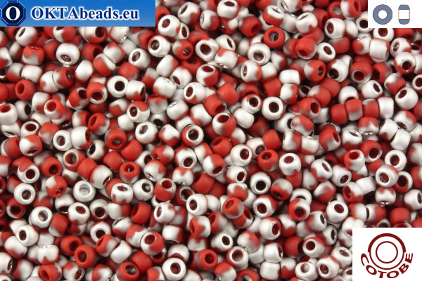 COTOBE Beads Brick-red and Silver Mat (J050) 11/0 CTBJ050