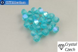 Preciosa Crystal Bicone - Blue Zircon Matt AB 4mm, 24pc 4PRcrys126